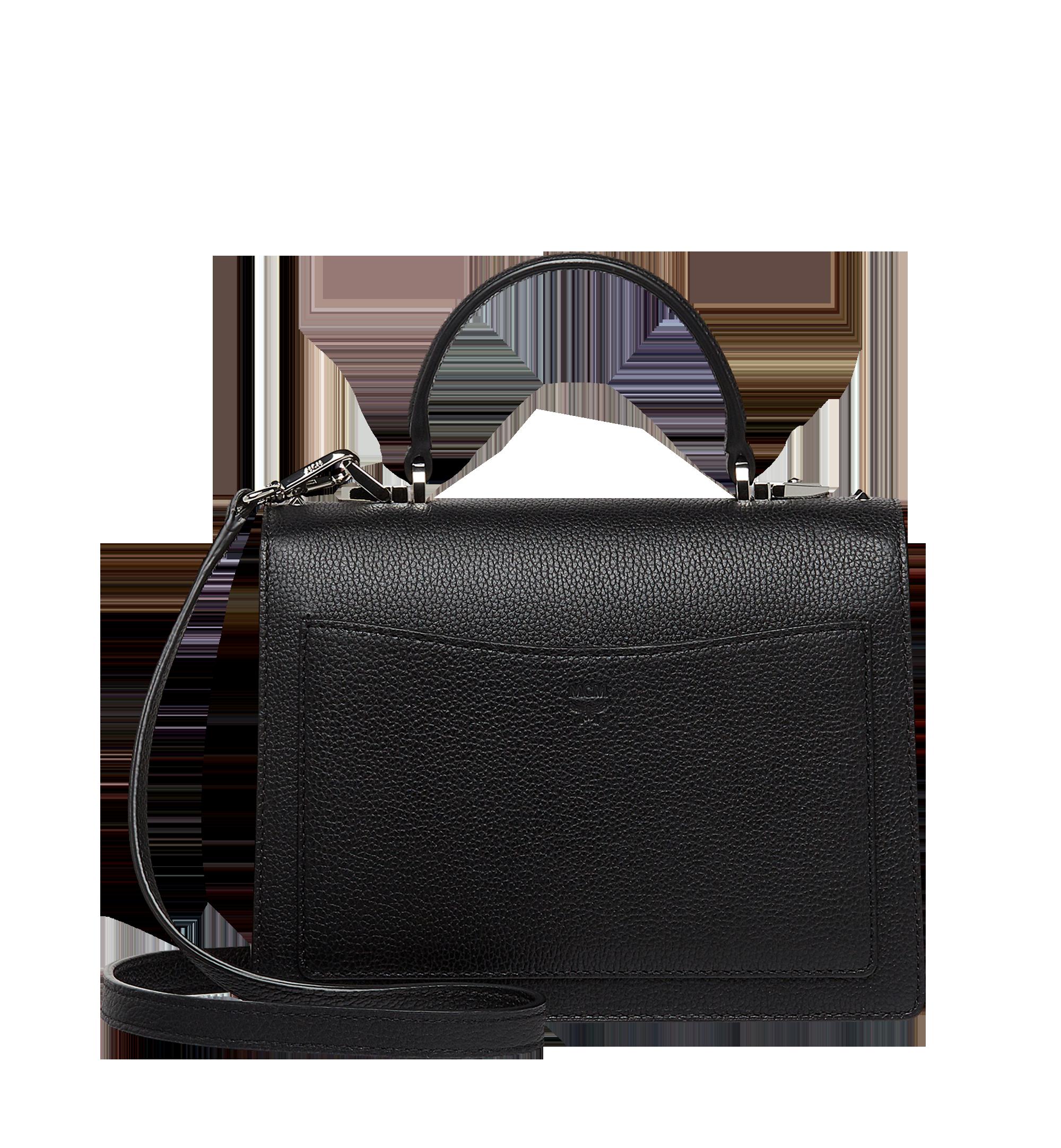 MCM Patricia Satchel in Studded Outline Leather Black MWE8APA51BK001 Alternate View 4