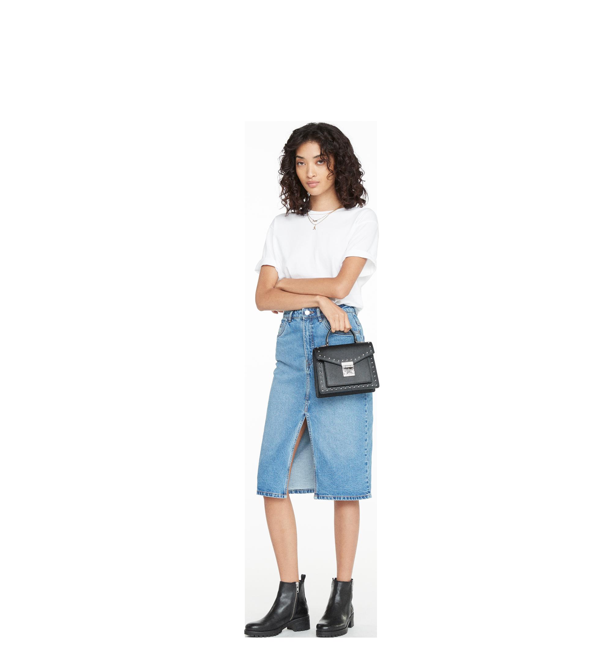 MCM Patricia Satchel in Studded Outline Leather Black MWE8APA51BK001 Alternate View 6
