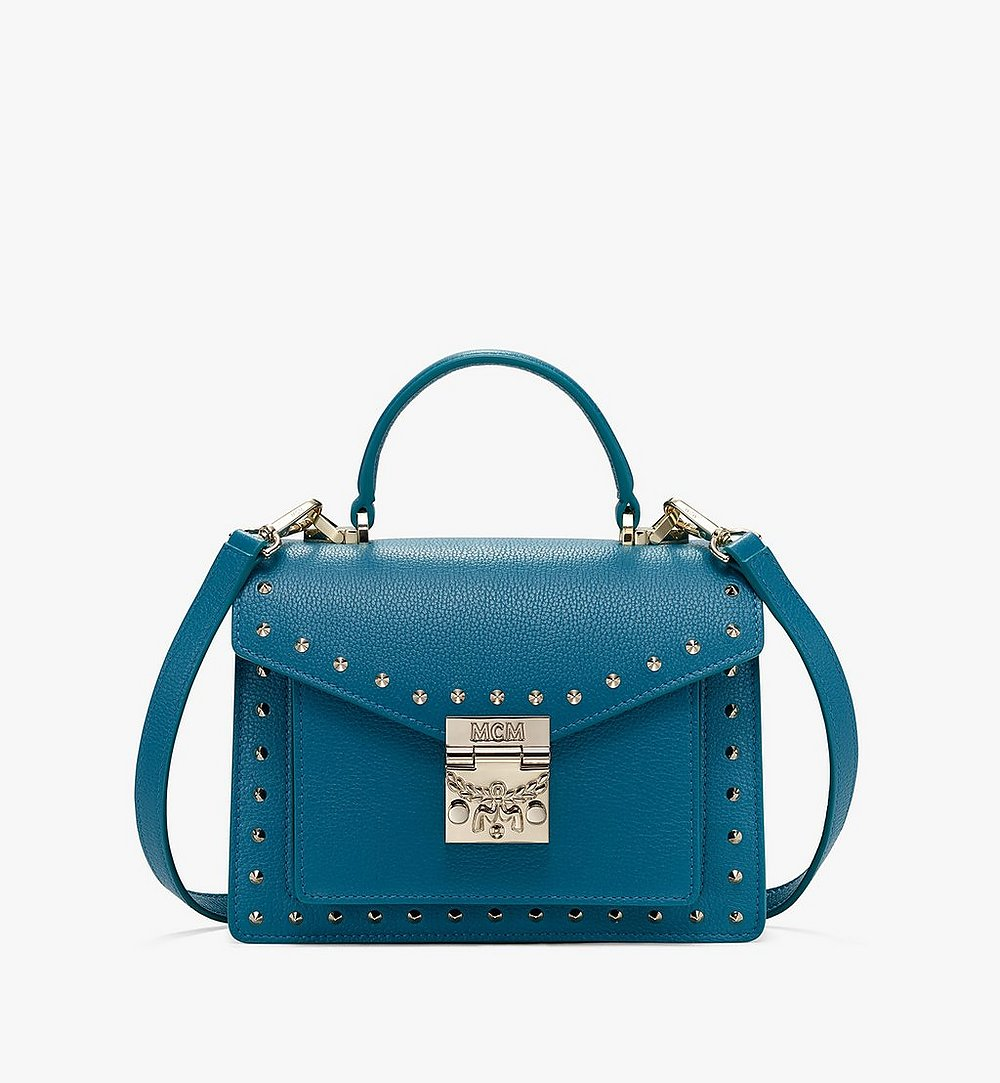 MCM Patricia Satchel in Studded Park Ave Leather Blue MWE8APA51JF001 Alternate View 1