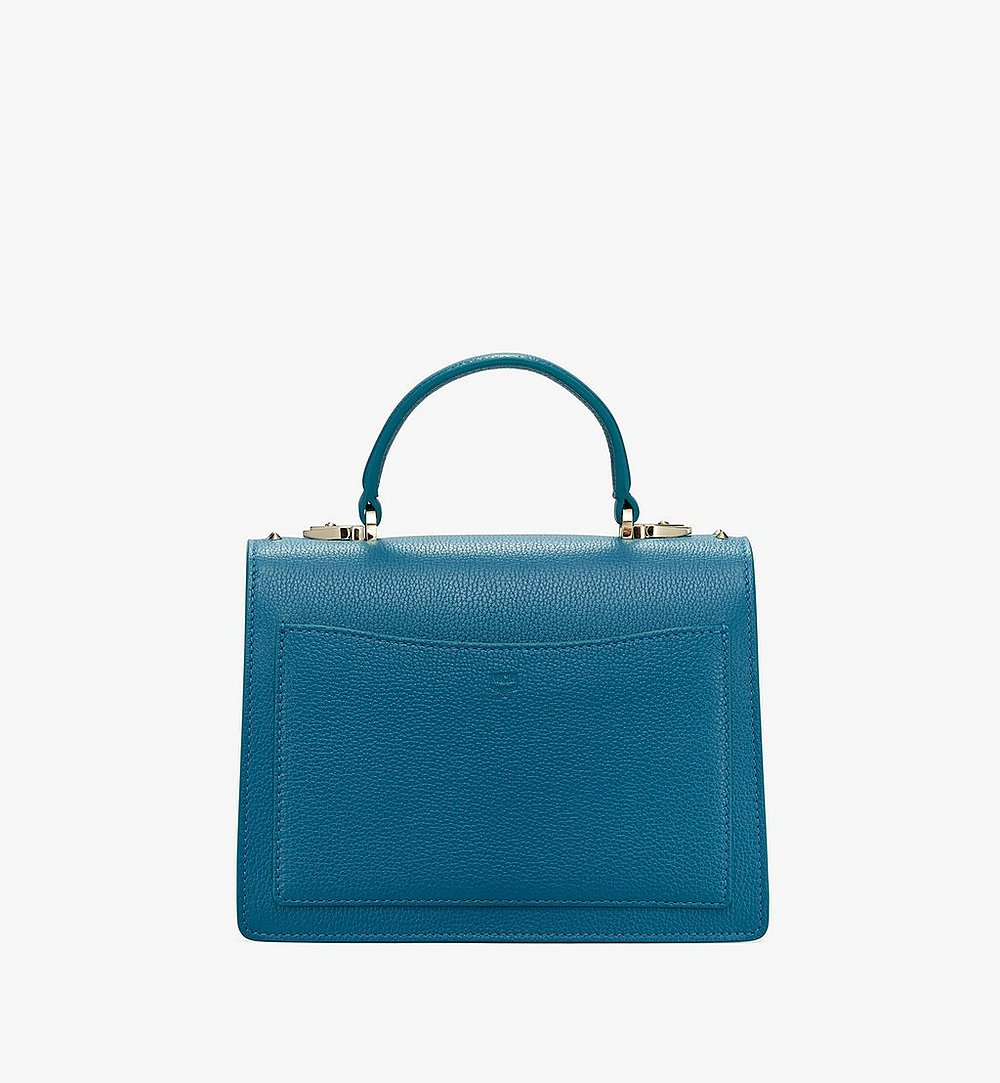 MCM Patricia Satchel in Studded Park Ave Leather Blue MWE8APA51JF001 Alternate View 2