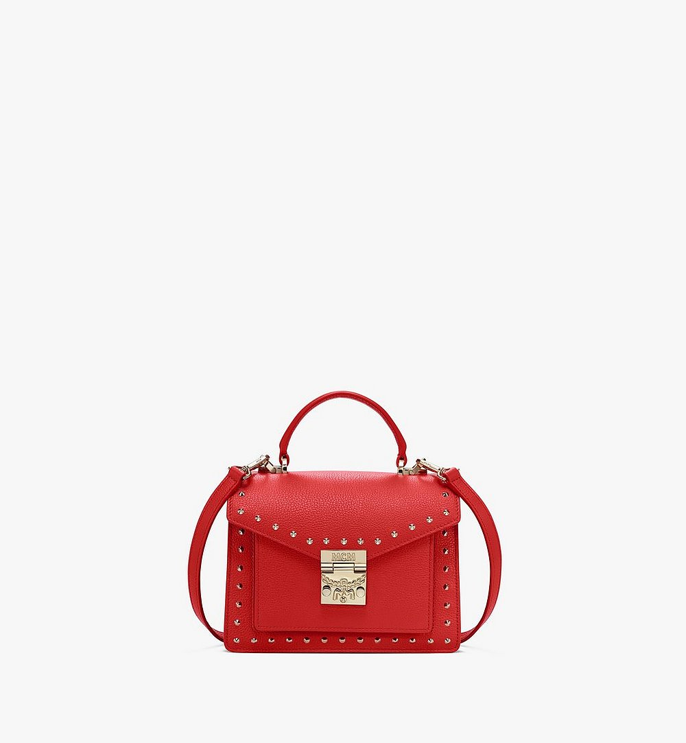 MCM Patricia Satchel in Studded Park Ave Leather Red MWE8APA51R4001 Alternate View 1