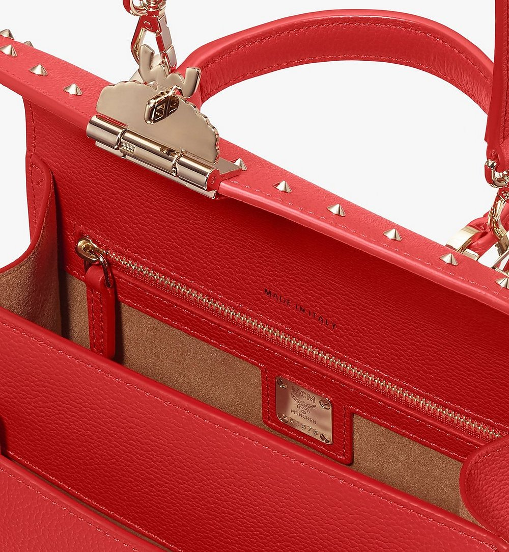 MCM Patricia Satchel in Studded Park Ave Leather Red MWE8APA51R4001 Alternate View 3