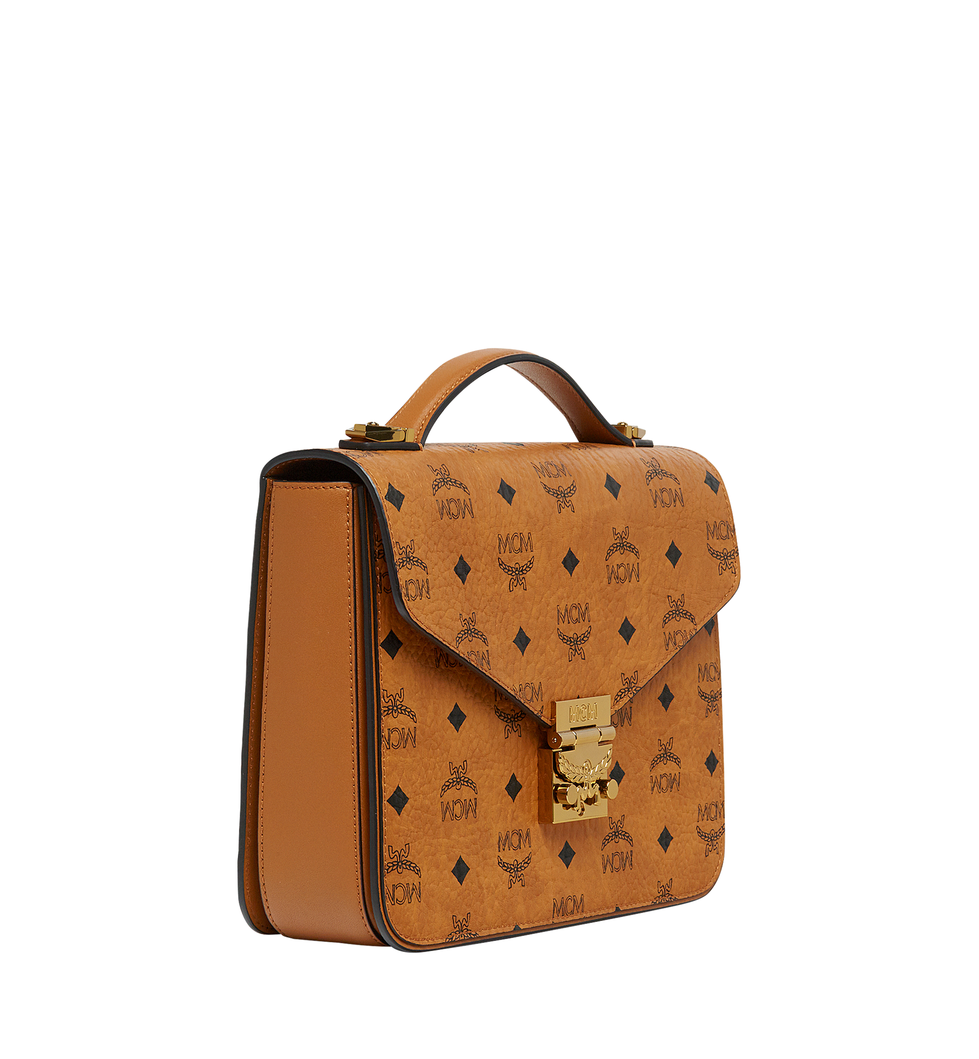 MCM Patricia Satchel in Visetos Cognac MWE8SPA42CO001 Alternate View 2