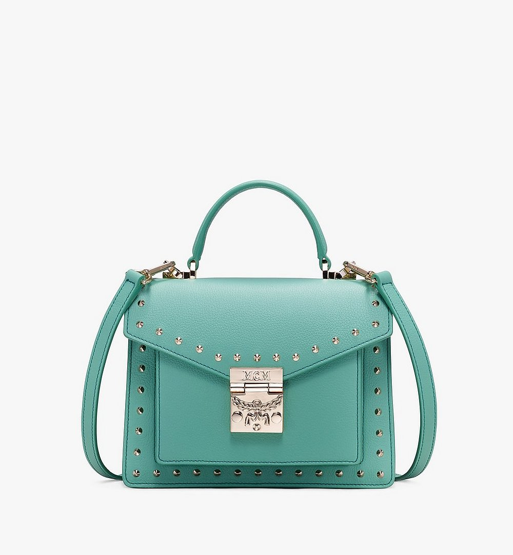 MCM Patricia Satchel in Studded Park Ave Leather Green MWE9APA51G7001 Alternate View 1