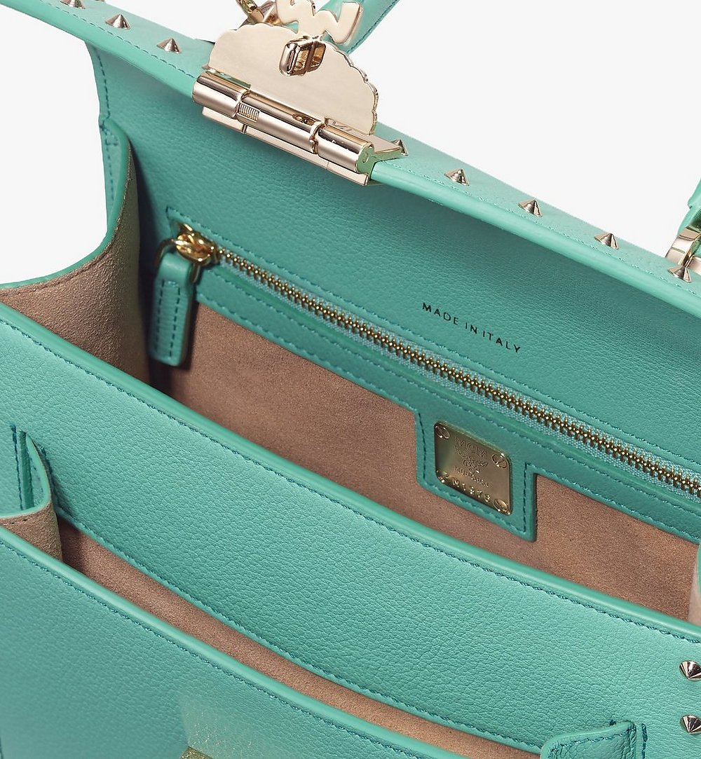 MCM Patricia Satchel in Studded Park Ave Leather Green MWE9APA51G7001 Alternate View 3