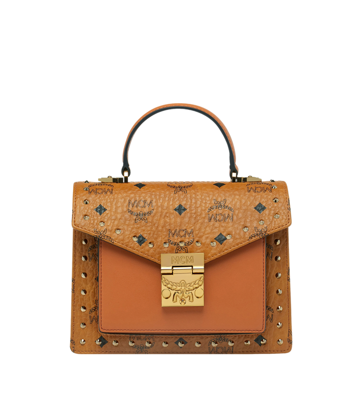 MCM Patricia Satchel in Studded Outline Visetos AlternateView