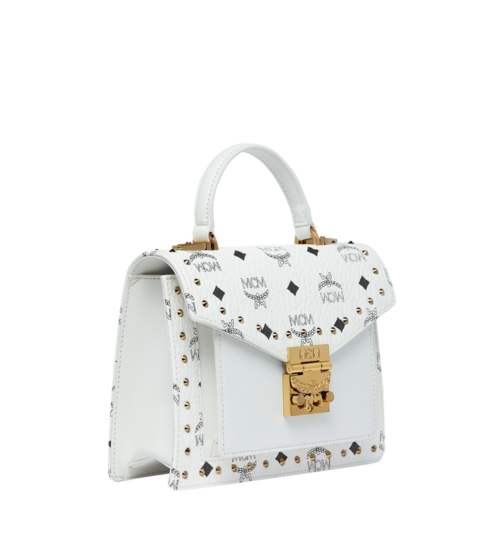 MCM Patricia Satchel in Studded Outline Visetos MWE9SPA44WT001 AlternateView2
