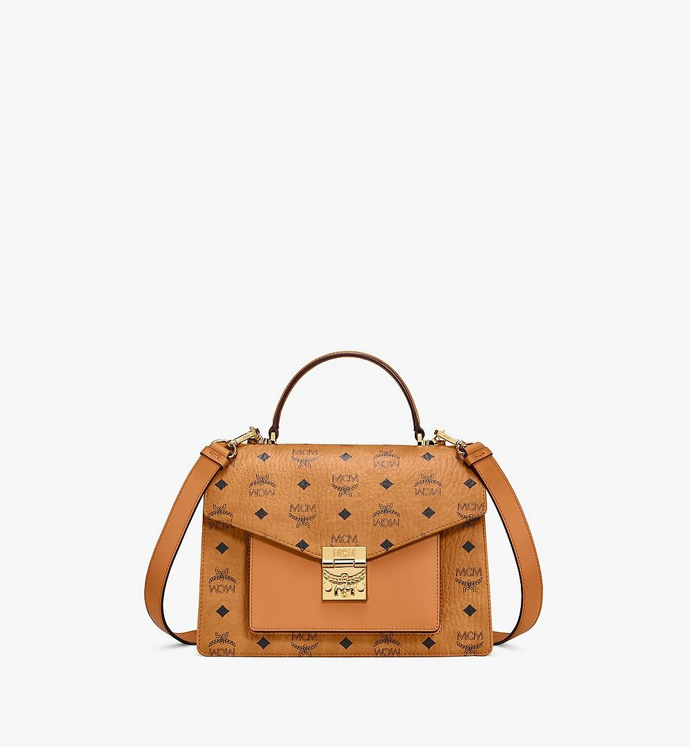MCM Patricia Satchel in Visetos Gold MWEAAPA01CO001 Alternate View 1