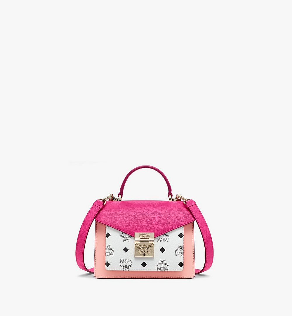 MCM Patricia Satchel in Color Block Visetos Pink MWEAAPA05QJ001 Alternate View 1