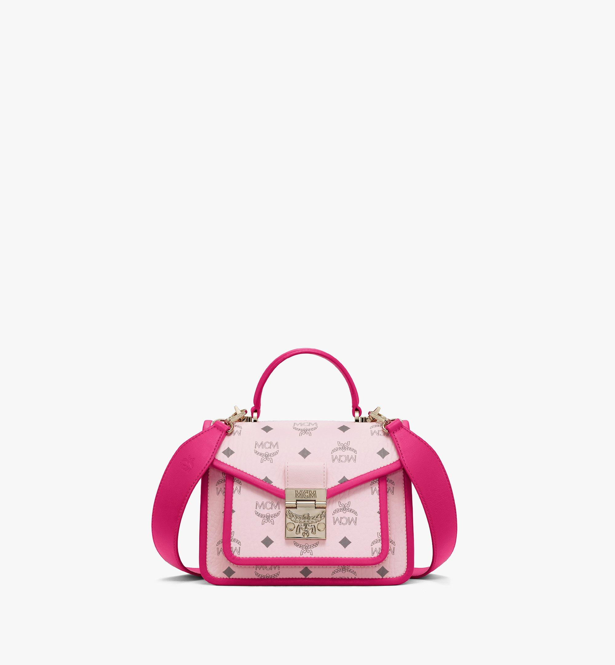 MCM Patricia Satchel in Visetos Leather Block Pink MWEAAPA06QH001 Alternate View 1