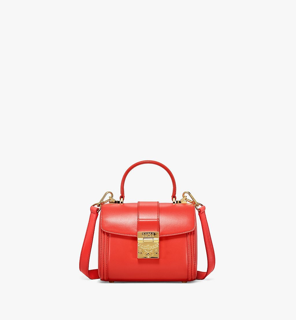 MCM Tracy Satchel in Embossed Spanish Leather Red MWEBSXT03R8001 Alternate View 1