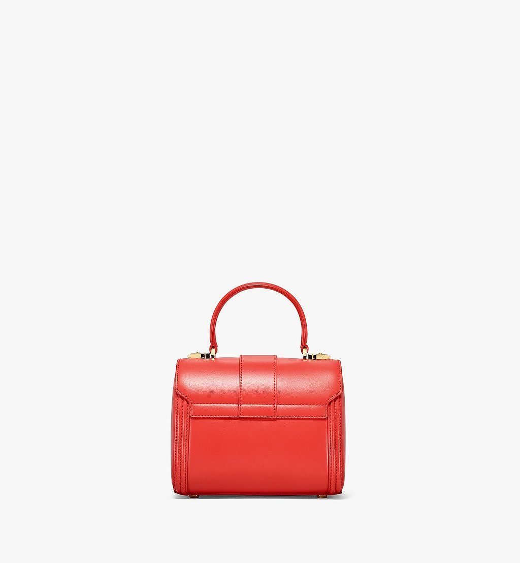 MCM Tracy Satchel in Embossed Spanish Leather Red MWEBSXT03R8001 Alternate View 3