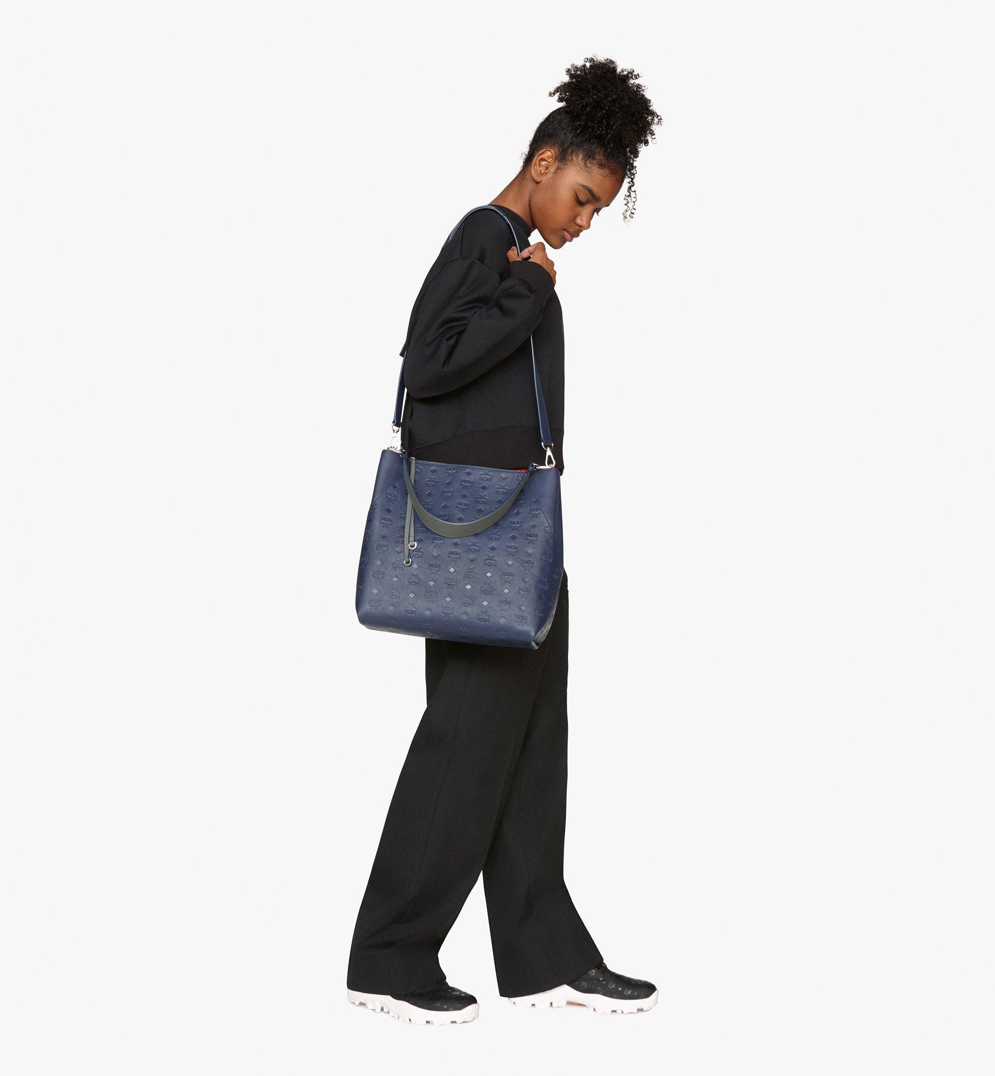 MCM Klara Hobo in Monogram Leather Blue MWH9AKM75VA001 Alternate View 7