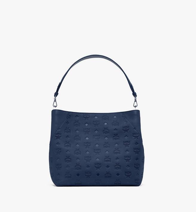 Medium Klara Hobo aus Leder mit Monogramm Navy Blue | MCM® DE