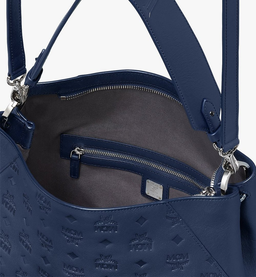 MCM Klara Hobo in Monogram Leather Blue MWH9AKM76VA001 Alternate View 3