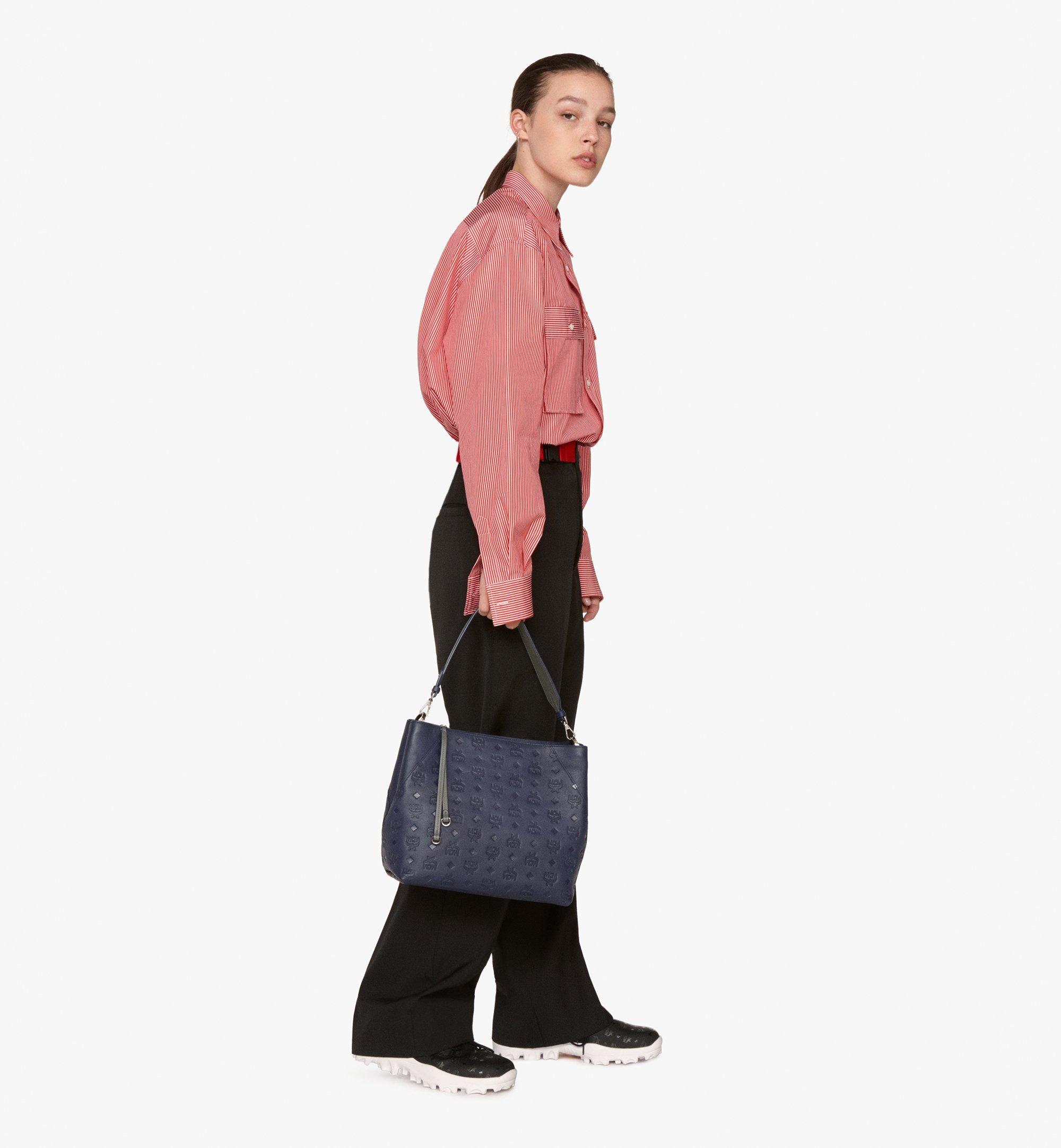 Medium Klara Hobo in Monogram Leather Navy Blue | MCM® DE