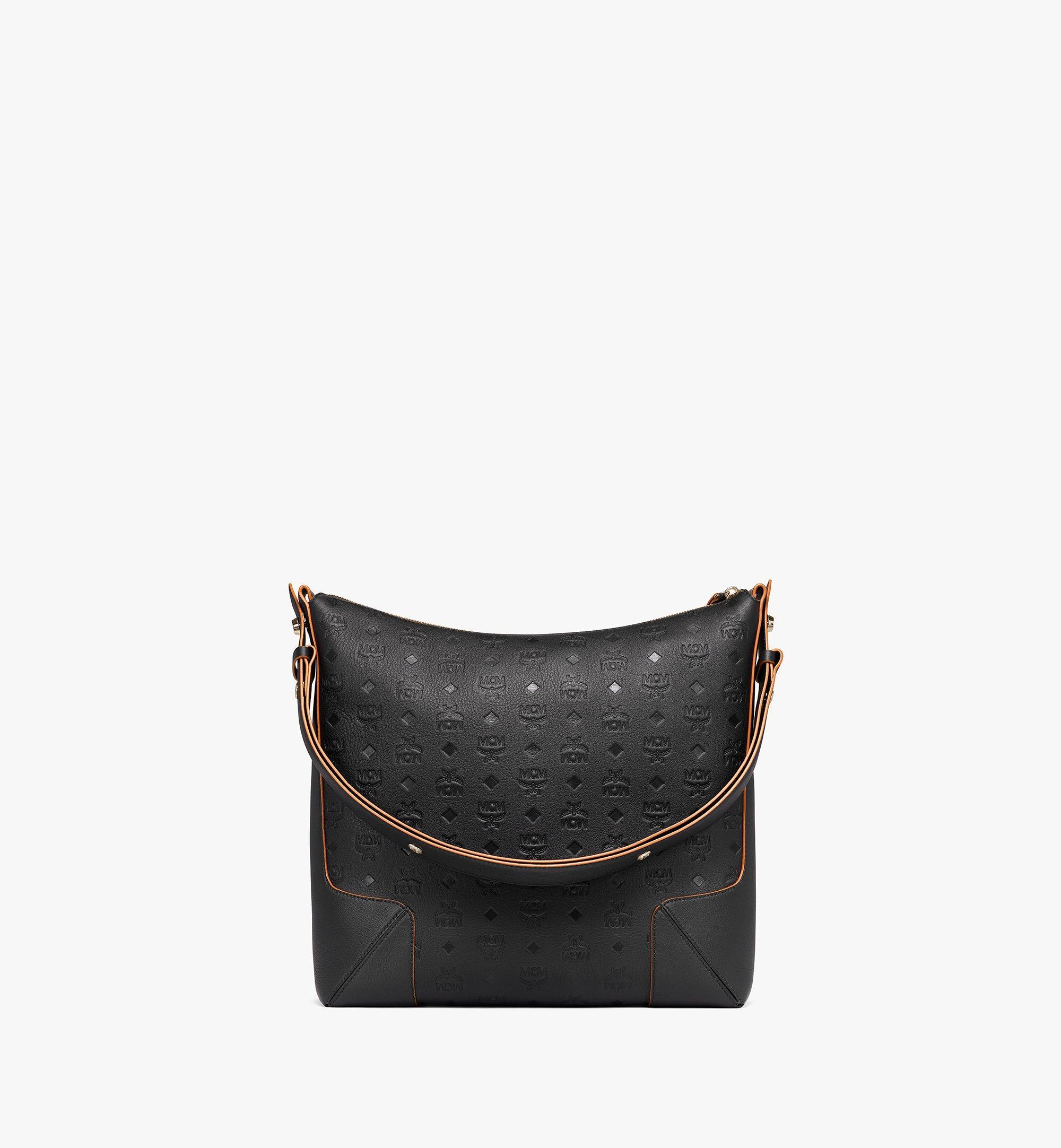 MCM Klara Hobo-Tasche aus Leder mit Monogramm Black MWHBSKM03BK001 Noch mehr sehen 3