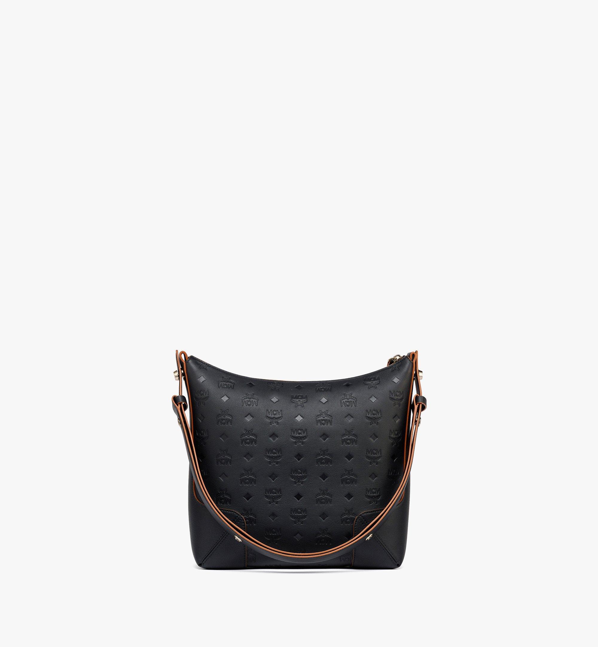 MCM Klara Hobo-Tasche aus Leder mit Monogramm Black MWHBSKM04BK001 Noch mehr sehen 3
