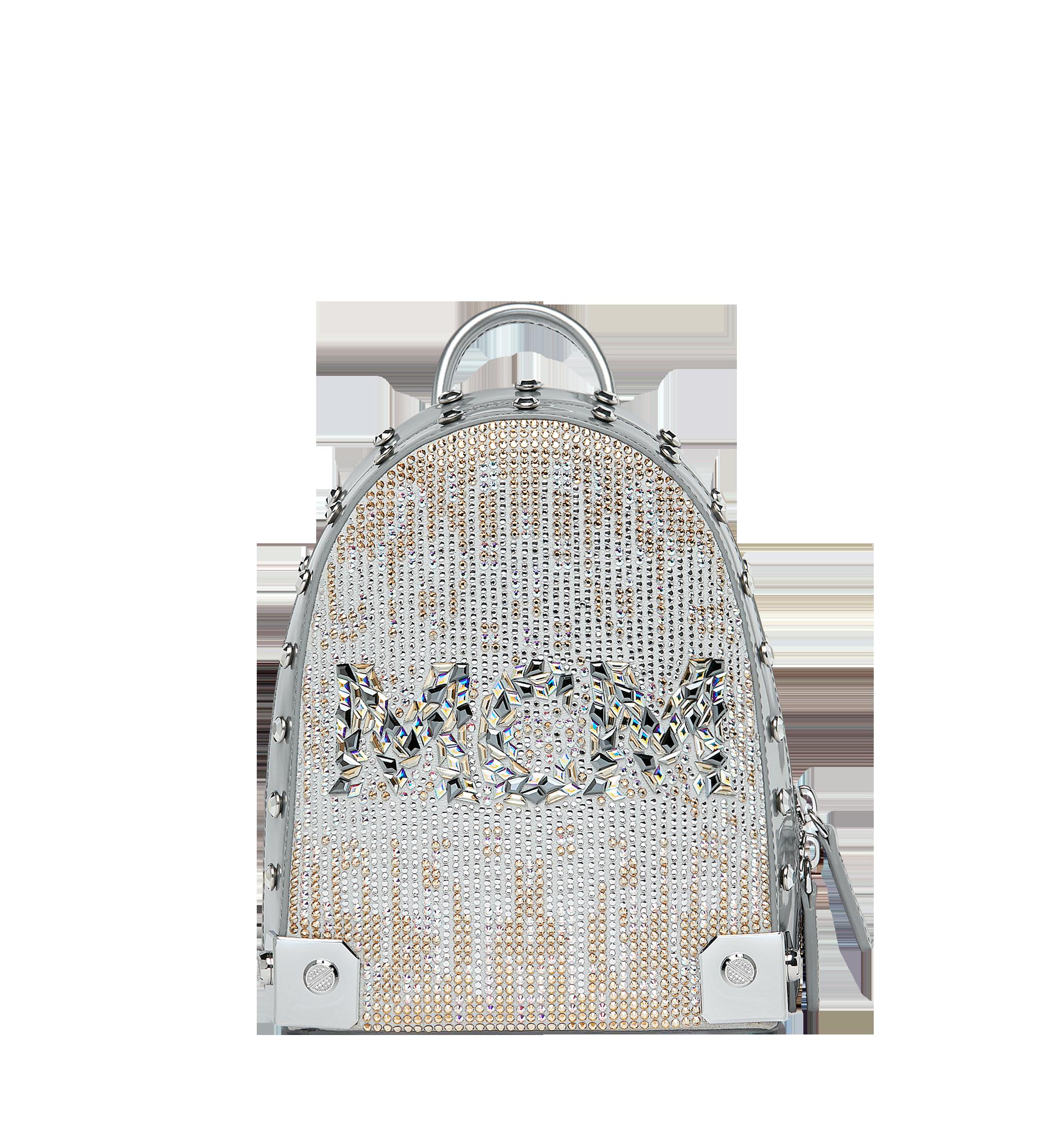 MCM Stark Bebe Boo Backpack in Mosaic Crystal Silver MWK9SMS01SB001 Alternate View 1