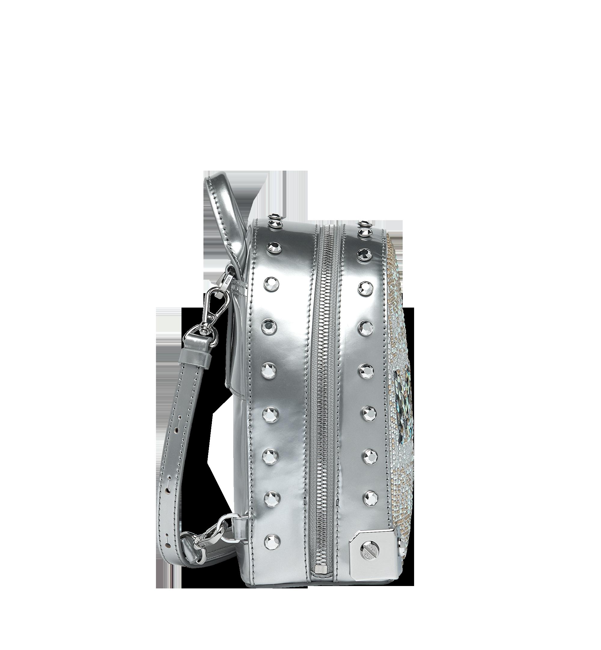 MCM Stark Bebe Boo Backpack in Mosaic Crystal Silver MWK9SMS01SB001 Alternate View 2
