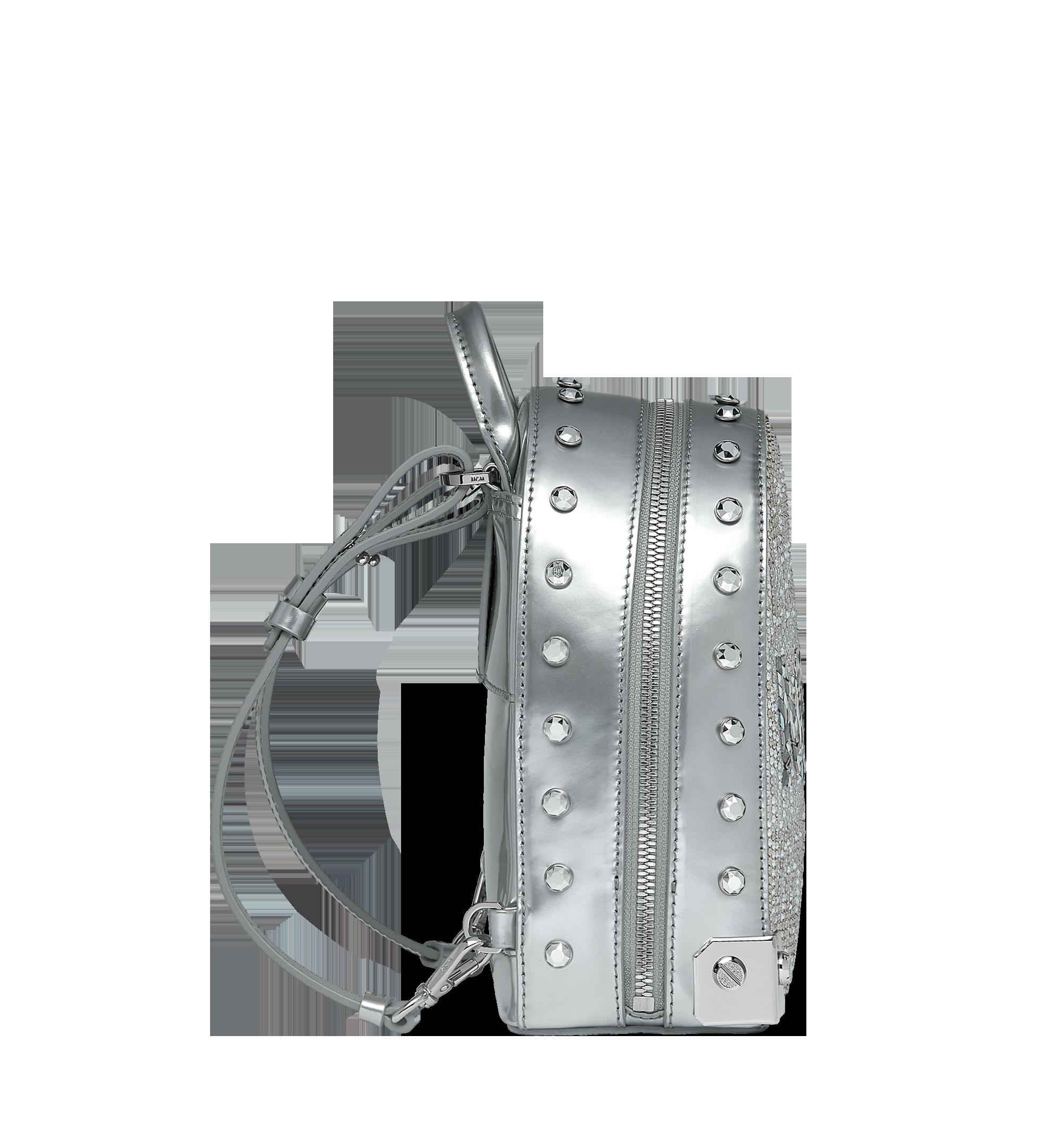 MCM Stark Bebe Boo Backpack in Mosaic Crystal Silver MWK9SMS01SB001 Alternate View 3