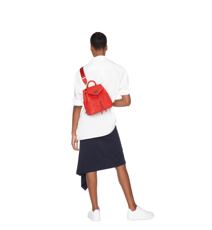MCM Essential Backpack in Monogram Leather Red MWK9SSE03RJ001 Alternate View 8
