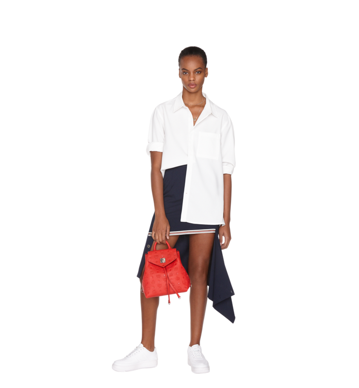 MCM Essential Backpack in Monogram Leather Red MWK9SSE03RJ001 Alternate View 9