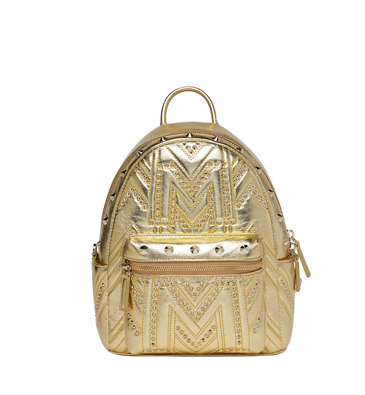 7d483f1f697d7b 27 cm / 10.5 in Stark Backpack in Quilted Studs Munich Gold | MCM