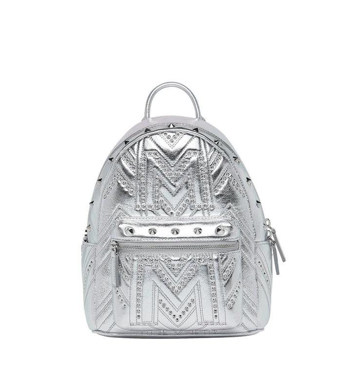 c43c267870051b 27 cm / 10.5 in Stark Backpack in Quilted Studs Berlin Silver | MCM
