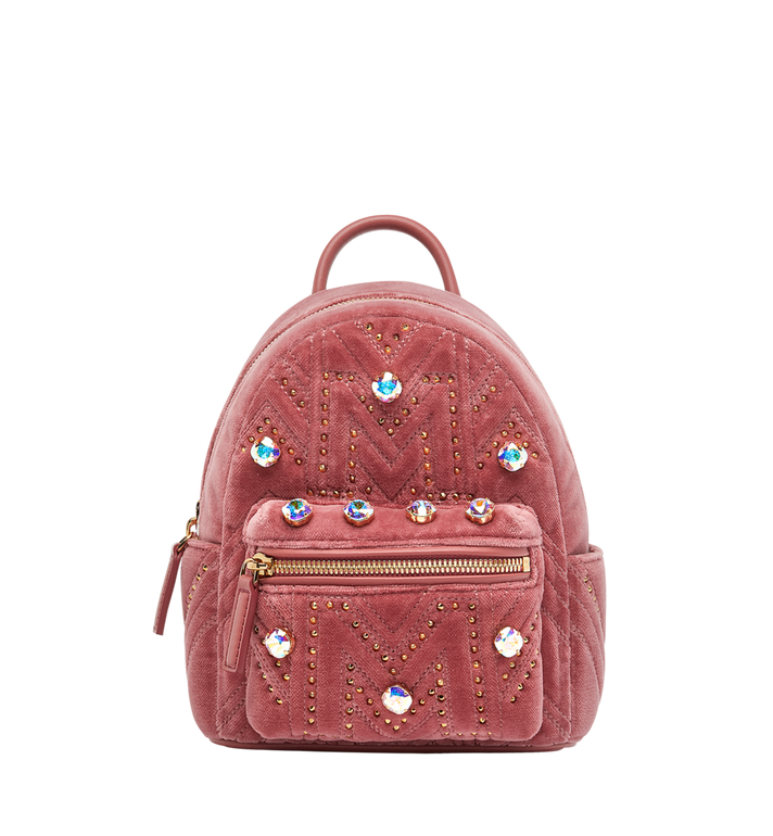 MCM Stark Bebe Boo Backpack in Velvet Crystal Studs AlternateView1