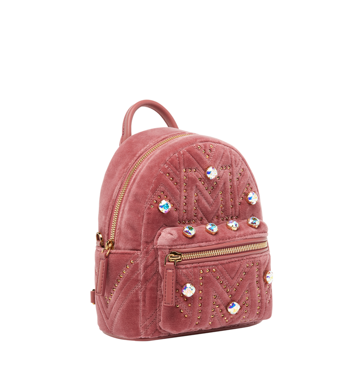 MCM Stark Bebe Boo Backpack in Velvet Crystal Studs Alternate View 2