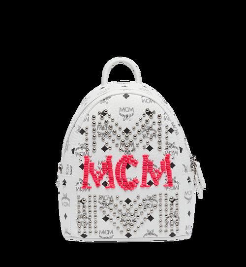 27 cm 10.5 in Stark Backpack in Neon Stud Visetos White
