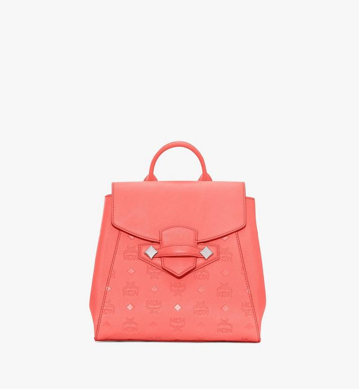 MCM Essential Backpack in Monogram Leather Pink MWKASSE01O3001 Alternate View 1