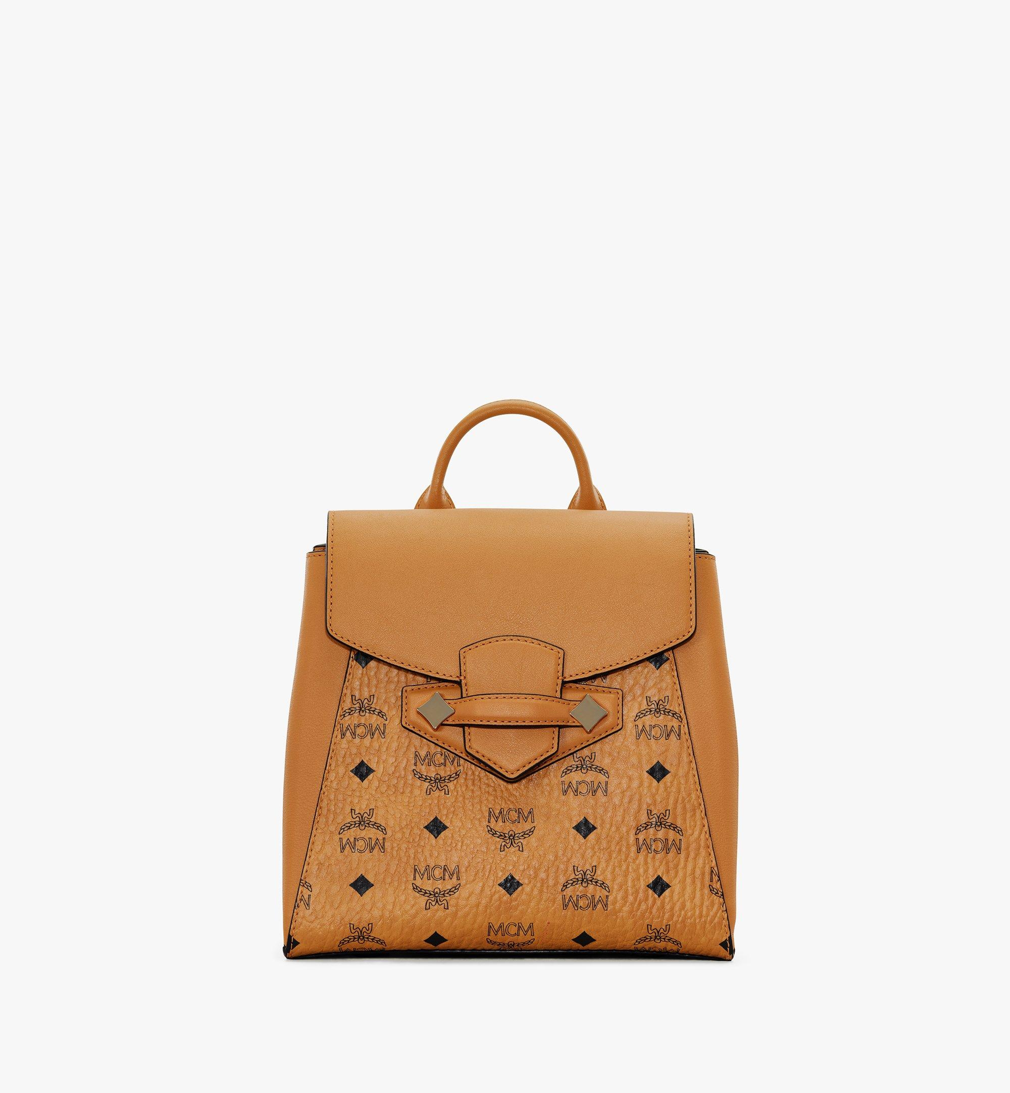 Small Essential Rucksack in Visetos Original Cognac | MCM® DE