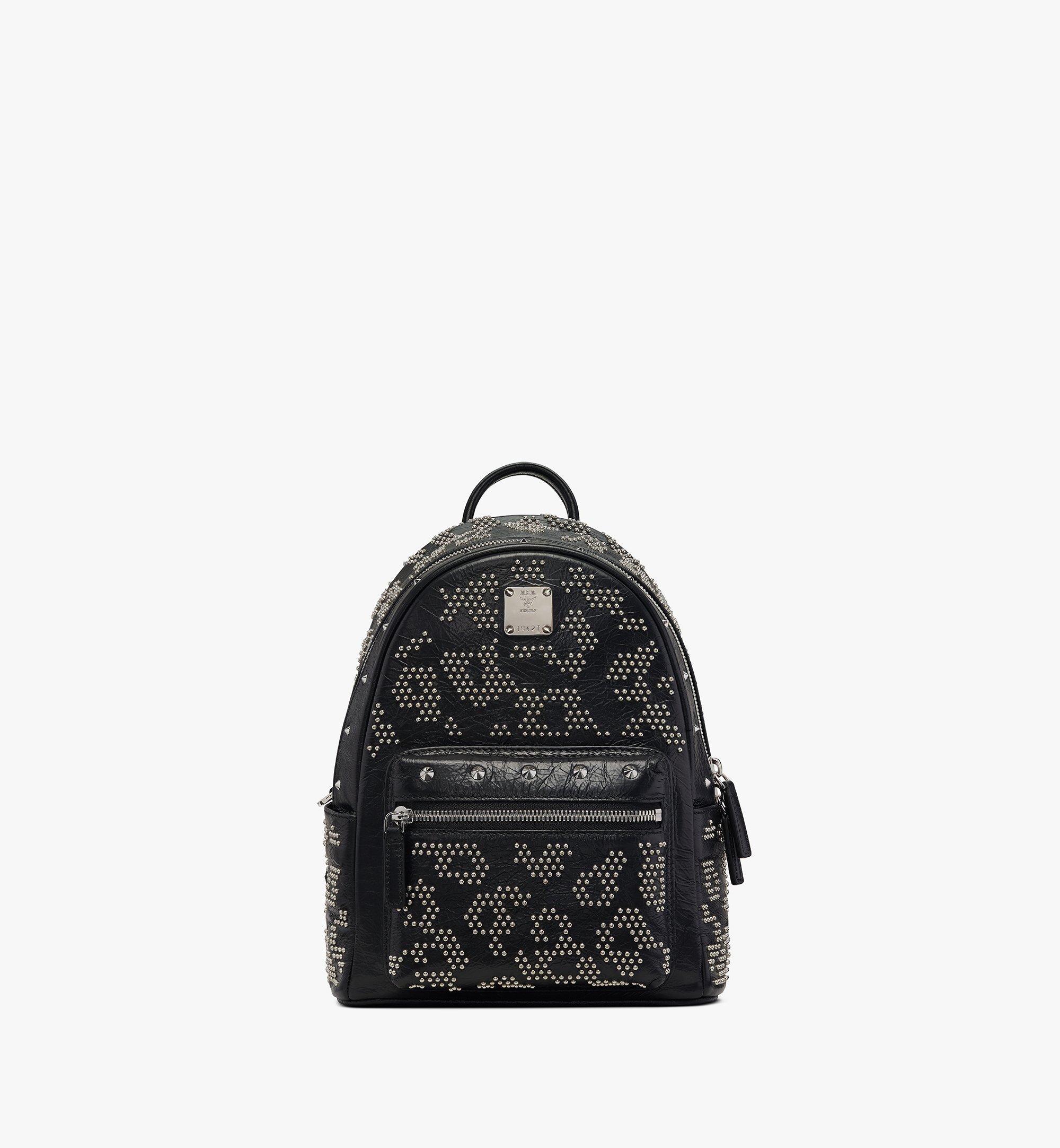 MCM Stark Backpack in Studded Leopard Leather Black MWKASVE01BK001 Alternate View 1