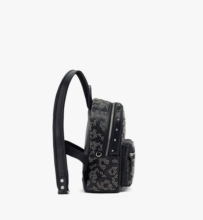 MCM Stark Backpack in Studded Leopard Leather Black MWKASVE01BK001 Alternate View 2