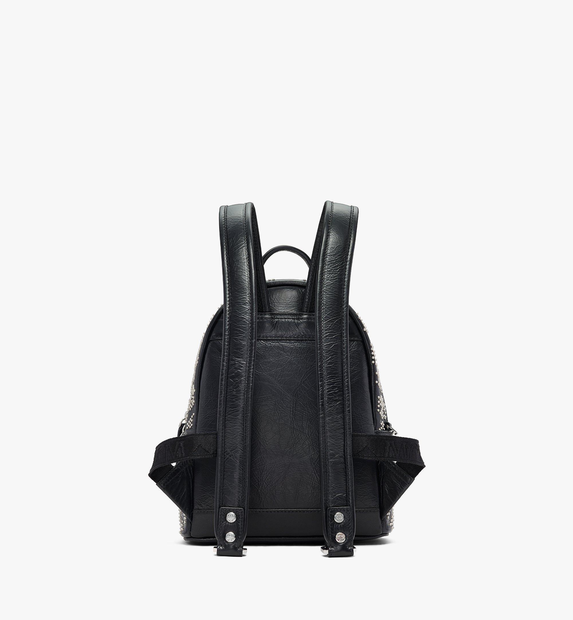 MCM Stark Backpack in Studded Leopard Leather Black MWKASVE01BK001 Alternate View 3