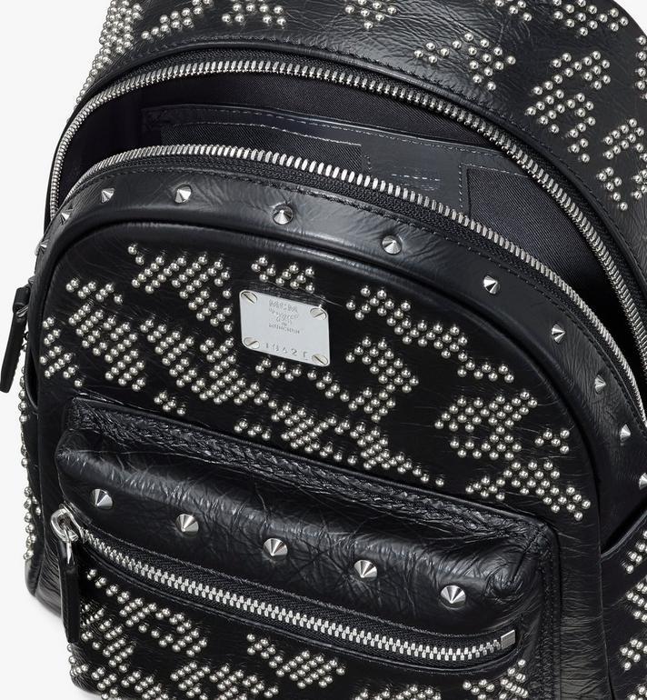 MCM Stark Backpack in Studded Leopard Leather Black MWKASVE01BK001 Alternate View 4