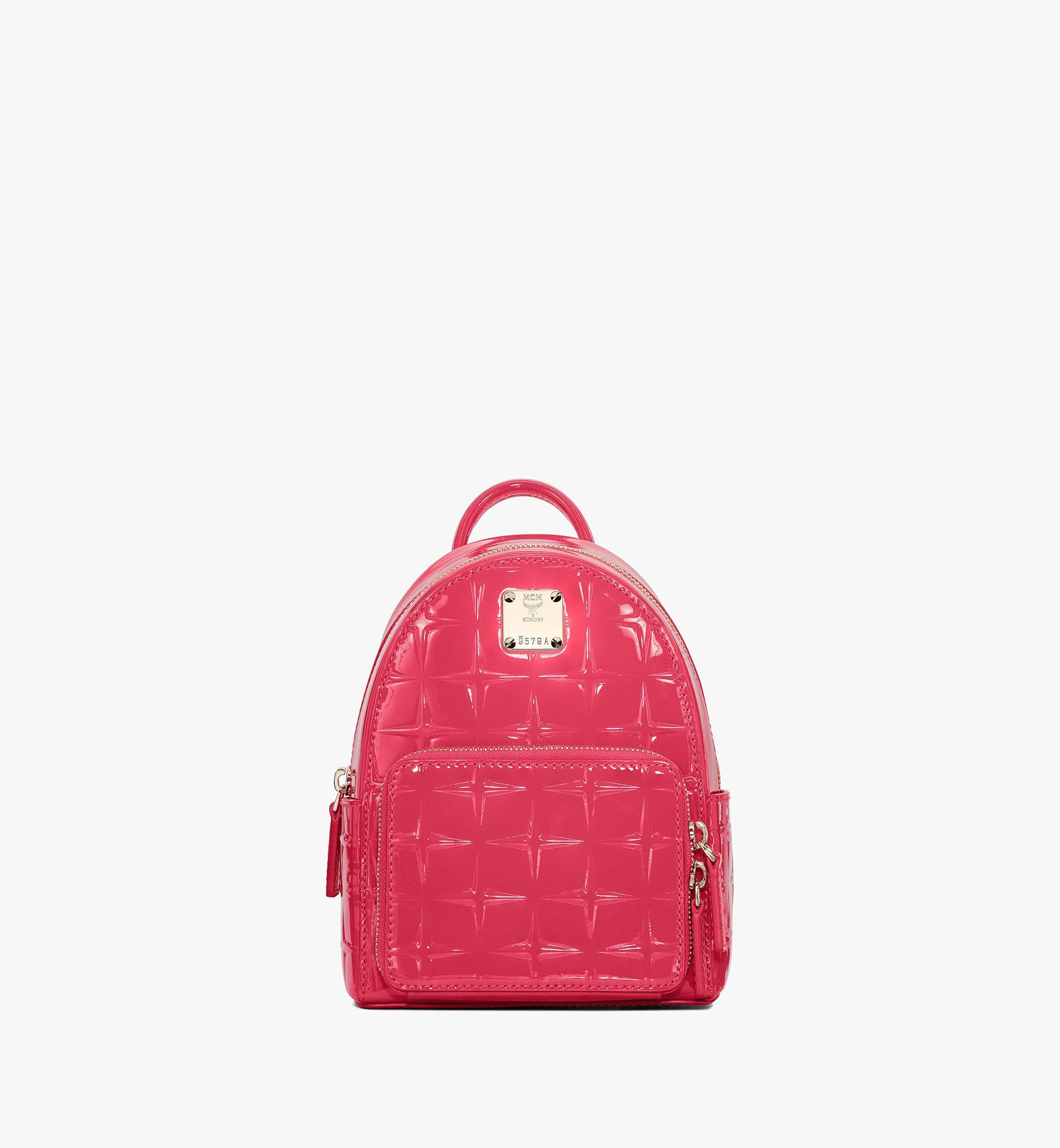 MCM Stark Bebe Boo Backpack in Diamond Patent Leather Pink MWKASVE03QE001 Alternate View 1