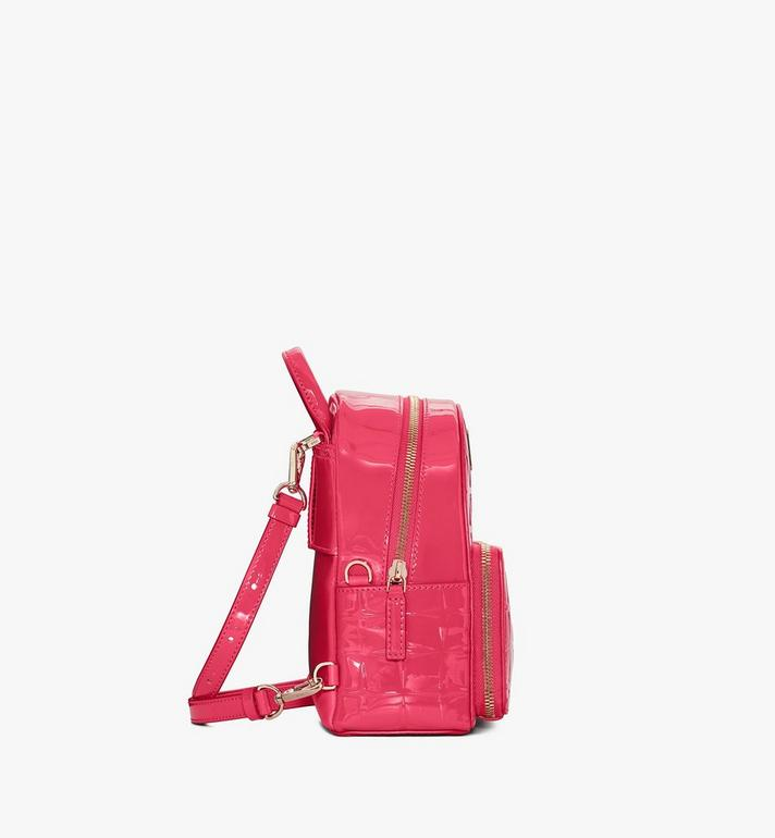 MCM Stark Bebe Boo Backpack in Diamond Patent Leather Pink MWKASVE03QE001 Alternate View 2