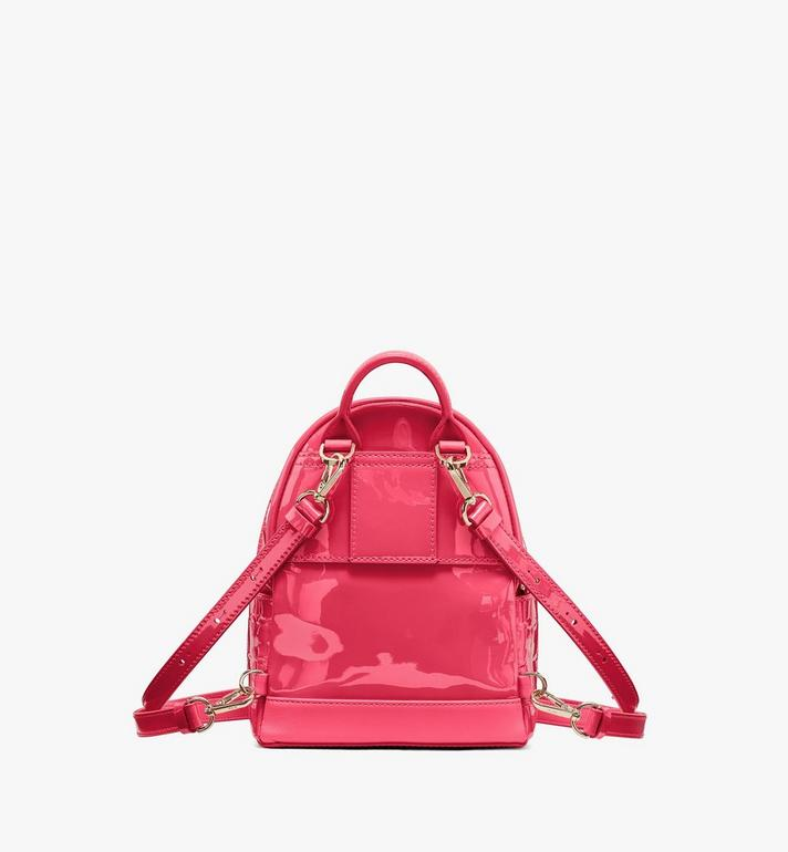 MCM Stark Bebe Boo Backpack in Diamond Patent Leather Pink MWKASVE03QE001 Alternate View 3