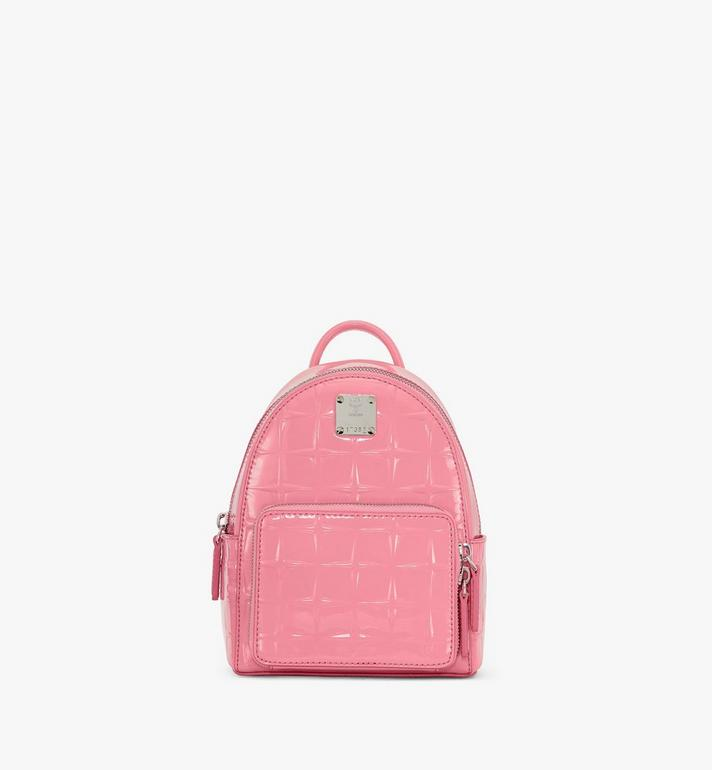MCM Stark Bebe Boo Backpack in Diamond Patent Leather Alternate View