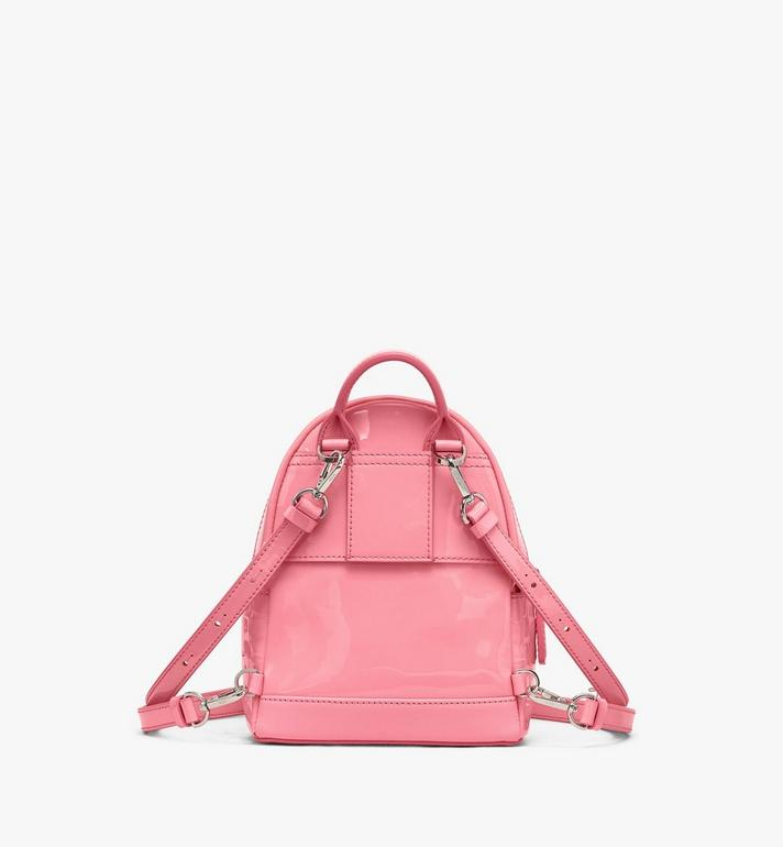 MCM Stark Bebe Boo Backpack in Diamond Patent Leather Pink MWKASVE03QG001 Alternate View 3