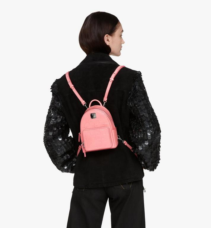 MCM Stark Bebe Boo Backpack in Diamond Patent Leather Pink MWKASVE03QG001 Alternate View 5