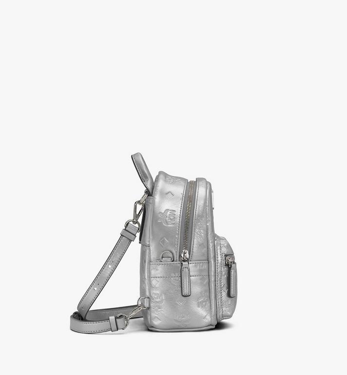 MCM Stark Bebe Boo Backpack in Monogram Leather Silver MWKASVE05SE001 Alternate View 2
