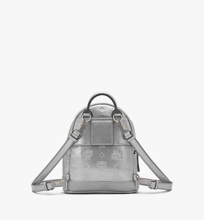 MCM Stark Bebe Boo Backpack in Monogram Leather Silver MWKASVE05SE001 Alternate View 3