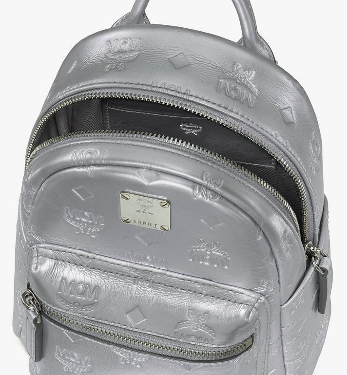 MCM Stark Bebe Boo Backpack in Monogram Leather Silver MWKASVE05SE001 Alternate View 4