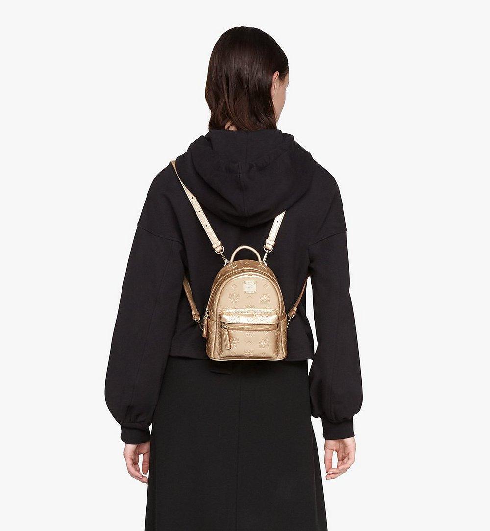 MCM Stark Bebe Boo Backpack in Monogram Leather Gold MWKASVE05T1001 Alternate View 2
