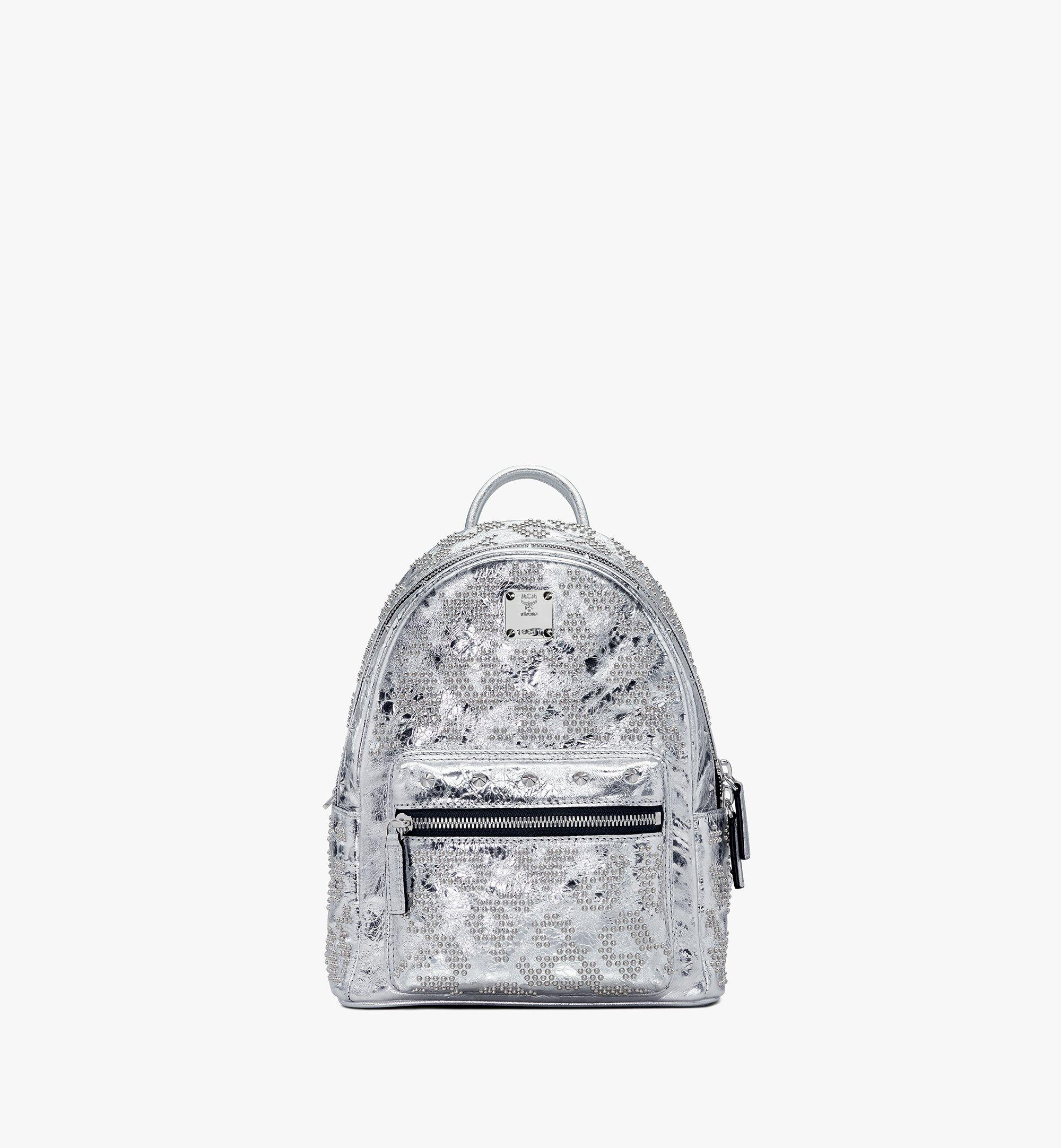 MCM Stark Backpack in Studded Leopard Leather Silver MWKASVE06SA001 Alternate View 1