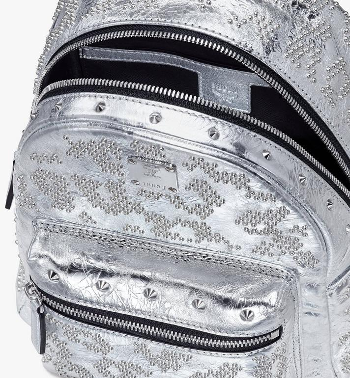 MCM Stark Backpack in Studded Leopard Leather Silver MWKASVE06SA001 Alternate View 4